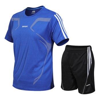 Plus Quick Dry Rashgard Gym T Shirt Sport Shirt Men Short Sleeve Fitness T-shirt And Shorts Sports SuitSoccer Basketball Jersey
