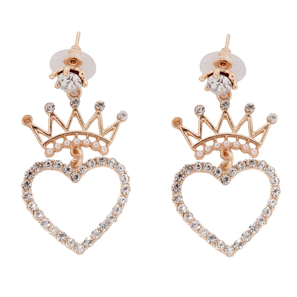 Cute Fashion Crown Zircon Earrings For Women Handmade Pearl Heart Long Jewelry oorbellen pendientes