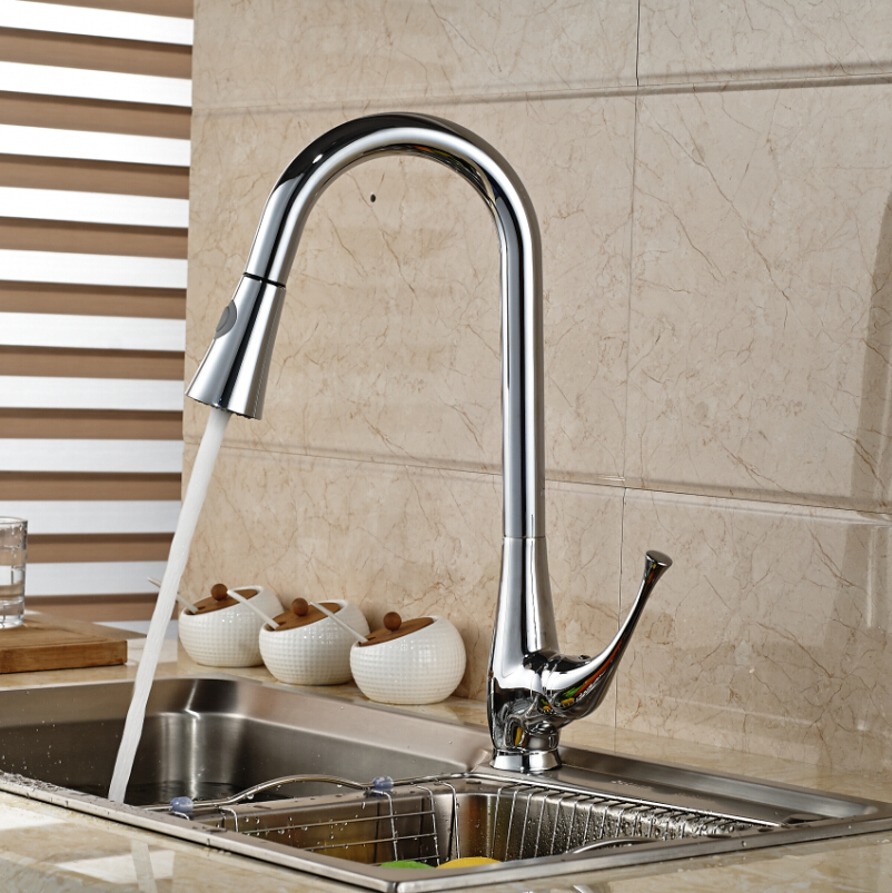 Chrome Brass Single Lever Rotation Kitchen Sink Mixer Faucet One Hole Pull Out Hot and Cold Water Mixer Taps micoe brass faucet single handle single hole kitchen faucet double nozzle water mixer chrome hot and cold water rotating faucet