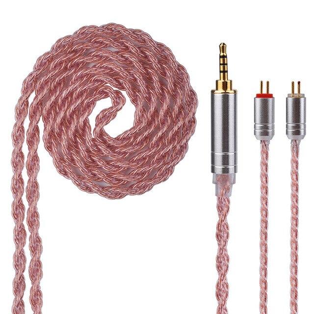 Nuevo Yinyoo 6 Core Rosa Cable de cobre 2,5/3,5/4,4mm equilibrado Cable con MMCX/2pin conector para HQ6 QT2 KZ ZS10 ZST ZSR ZSA PRO