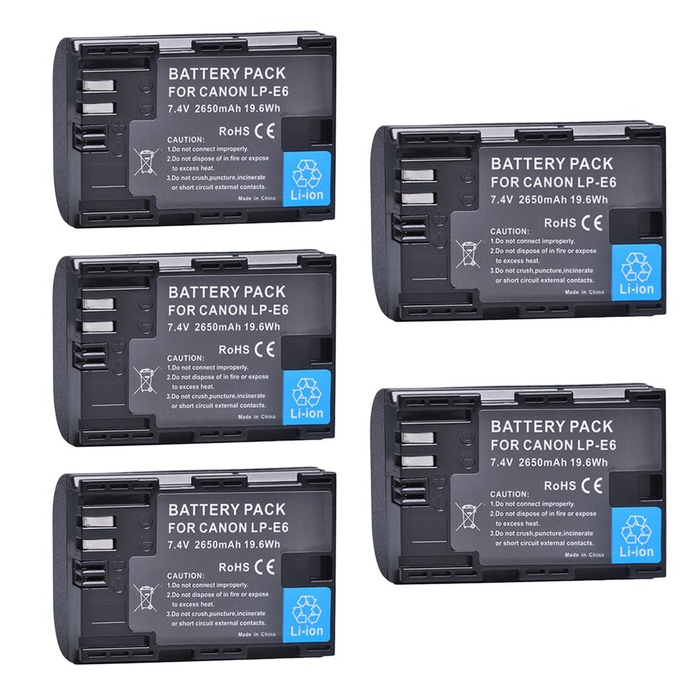 5 Pcs 2650 mAh LP-E6 LPE6 LP E6 Batteries pour Canon 5D Mark II III 7D 60D EOS 6D 7D, 80D et BG-E14, BG-E1, pour canon accessoires