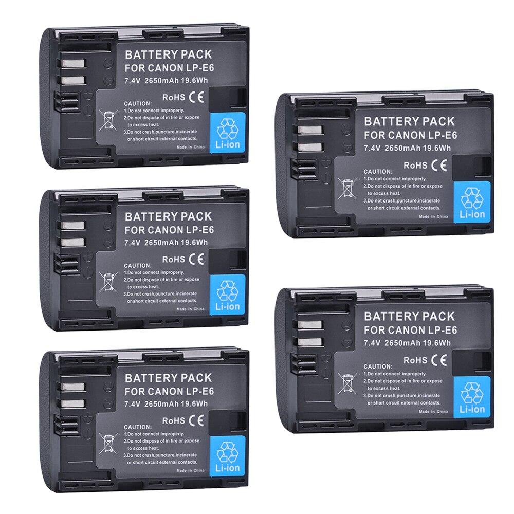 5 Pz Batterie 2650 mAh LP-E6 LPE6 LP E6 per Canon 5D Mark II III 7D 60D EOS 6D 7D, 80D e BG-E14, BG-E1, per canon accessori