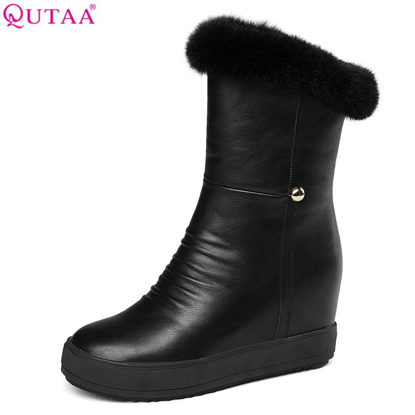 QUTAA 2018 Women Mid Calf Boots Fashion Pu Leather Wedges High Heel Round Toe Fur Inside Keep Warm Winter Snow Boots Size 34-40 qutaa national style winter women shoes genuine leather flat heel mid calf boot zipper women motorcycle snow boots size 34 40