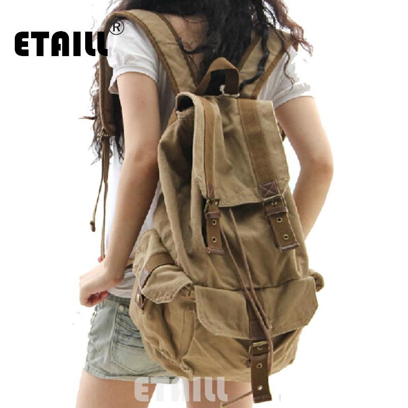 2016 Vintage Leather Military Canvas Men s Backpack Bagpack Rucksack School Bags Luxury Brand Logo Backpack