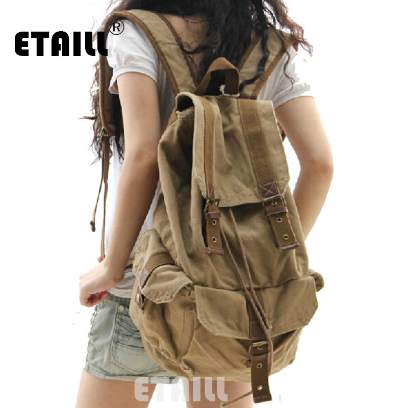 2016 Vintage Leather Military Canvas  Backpack Bagpack Rucksack School Bags Logo Backpack Van Sac A Dos