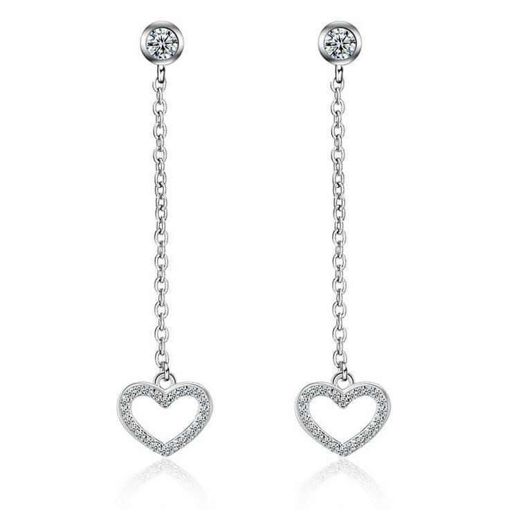 New arrival high quality romantic love heart shiny zircon 925 sterling silver ladies drop earrings jewelry wholesale gift