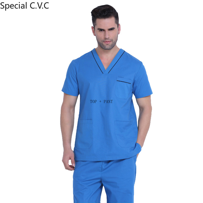 Men's Scrubs Set Pure Cotton Classic V-neck Top With Side Vent + Pants Nursing Uniform Doctor Clothing Surgery Workwear