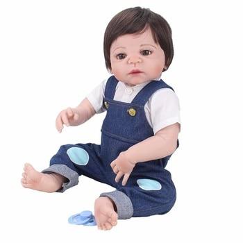 55cm Full Body Silicone Reborn Baby Doll Toys Play House Newborn Boy Baby Birthday Gift Christmas Present Bathe Toy