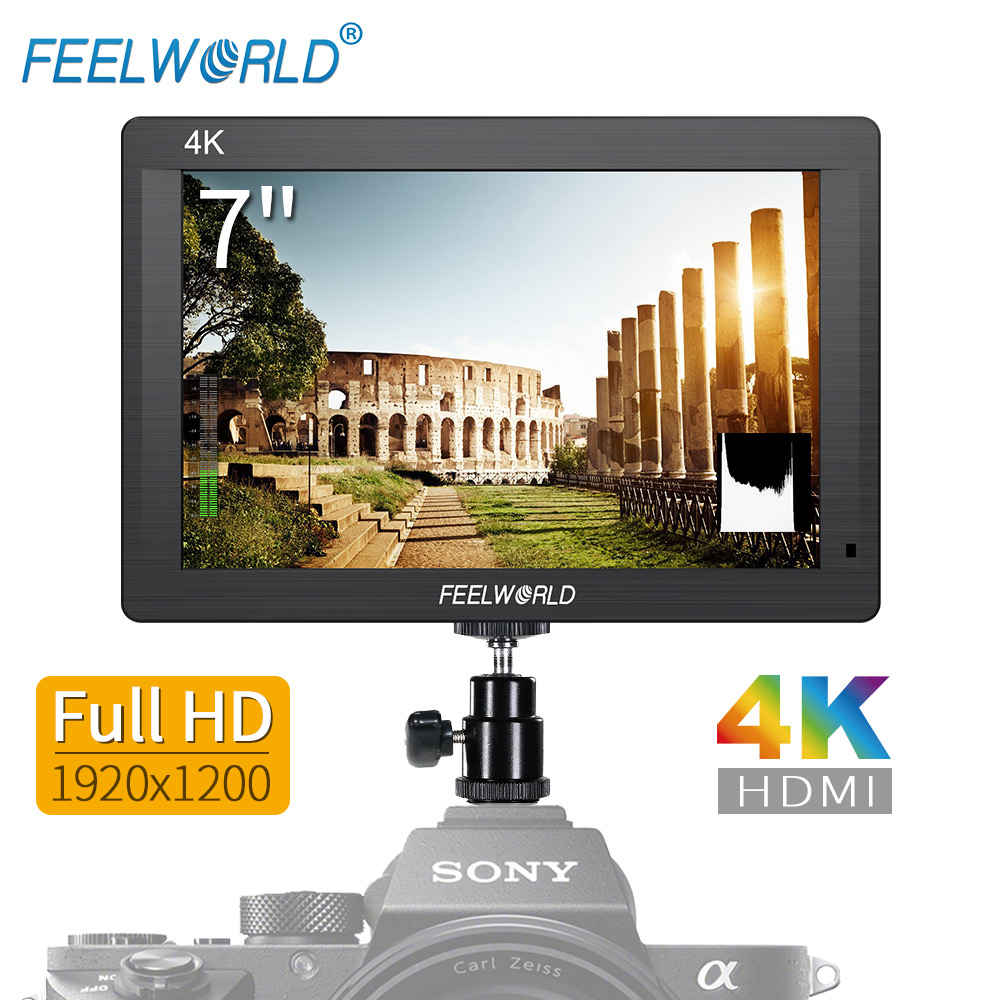 Feelworld FH7 7 IPS 4K 1920x1200 Full HD Camera Field Monitor with HDMI 4K UHD Input Output Peaking Focus Histogram Zebra Audio f450 4 5 inch ips 1280x800 hd 4k field lcd camera monitor with hdmi input output uhd peaking focus and other monitor accessory