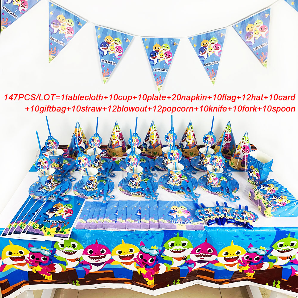 147Pcs/Lot 2019 Newest Baby Shark Tableware Sets Kids Birthday Party Baby Shower Festival Celebrate Decoration Event Supplies