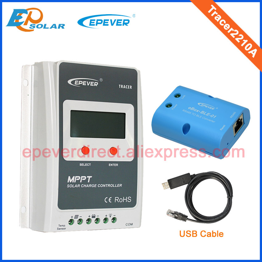 Solar controller Tracer2210A mini system power bank charger 20A 20amp eBLE-BOX-01 bluetooth function+USB cable connect nv q4500w 20a intelligent dual solar power transfer controller regulador solar dual for 12v 24v solar power system 110v 220 240v