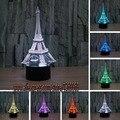Envío de la nueva 2017 decoración del hogar 3D Torre Eiffel LED lámpara de Mesa Lámpara de noche Dormitorio de La Lámpara de Luz RGB Mood Niños Familia regalo