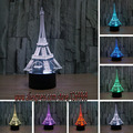 free shipping new 2017 home decoration 3D Eiffel Tower LED Night Light RGB Mood Lamp Bedroom Table Lamp Kids  Family Gift