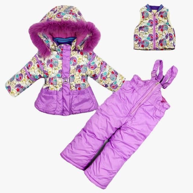 2016 зима новый Российский экспорт Лыжные костюмы дополняется вниз три комплекта толщиной шерпа детей внутри три пьесы наборы