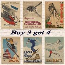 Pôster de viagem vintage davos ski propaganda/ski em noruega