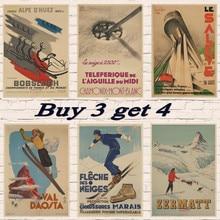 Vintage esquí viaje Davos esquí Propaganda/esquí en Noruega papel Kraft Poster arte Retro
