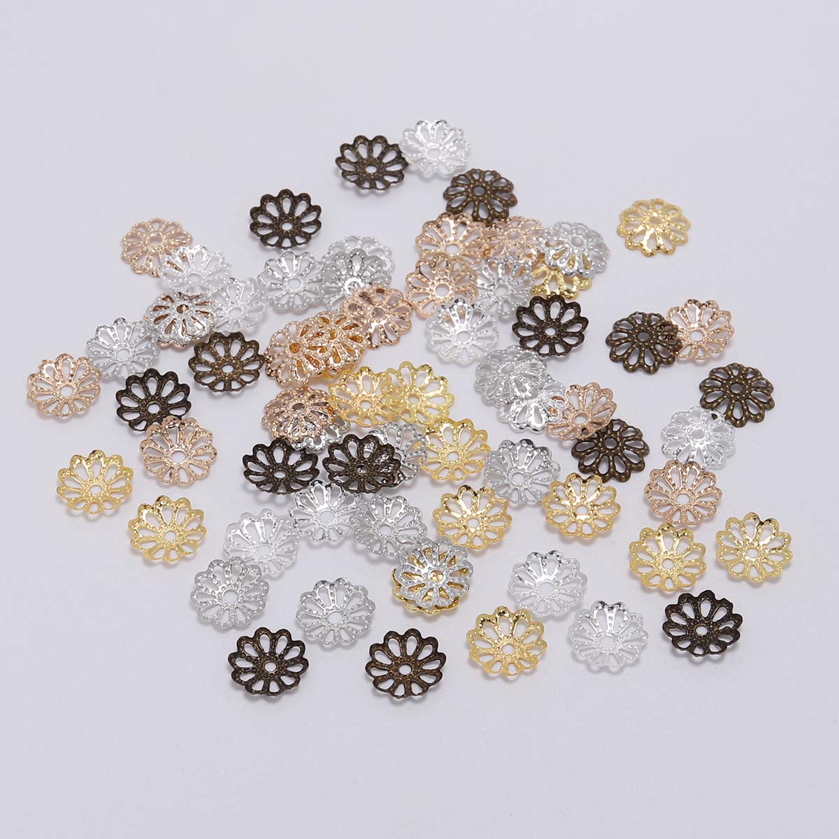 200pcs/lot 7mm 9mm Silver Gold Plated Bulk Metal Flower Petal End Spacer Beads Caps Charms Bead Cups For Jewelry Making Supplies