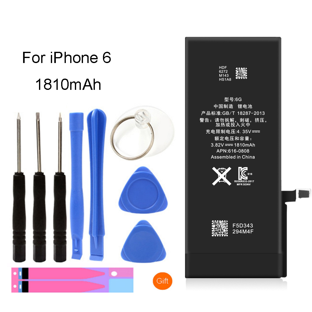 For iPhone 6 Battery Real Capacity 1810mAh Replacement Li-ion Polymer Battery + Free Tools StickersFor iPhone 6 Battery Real Capacity 1810mAh Replacement Li-ion Polymer Battery + Free Tools Stickers