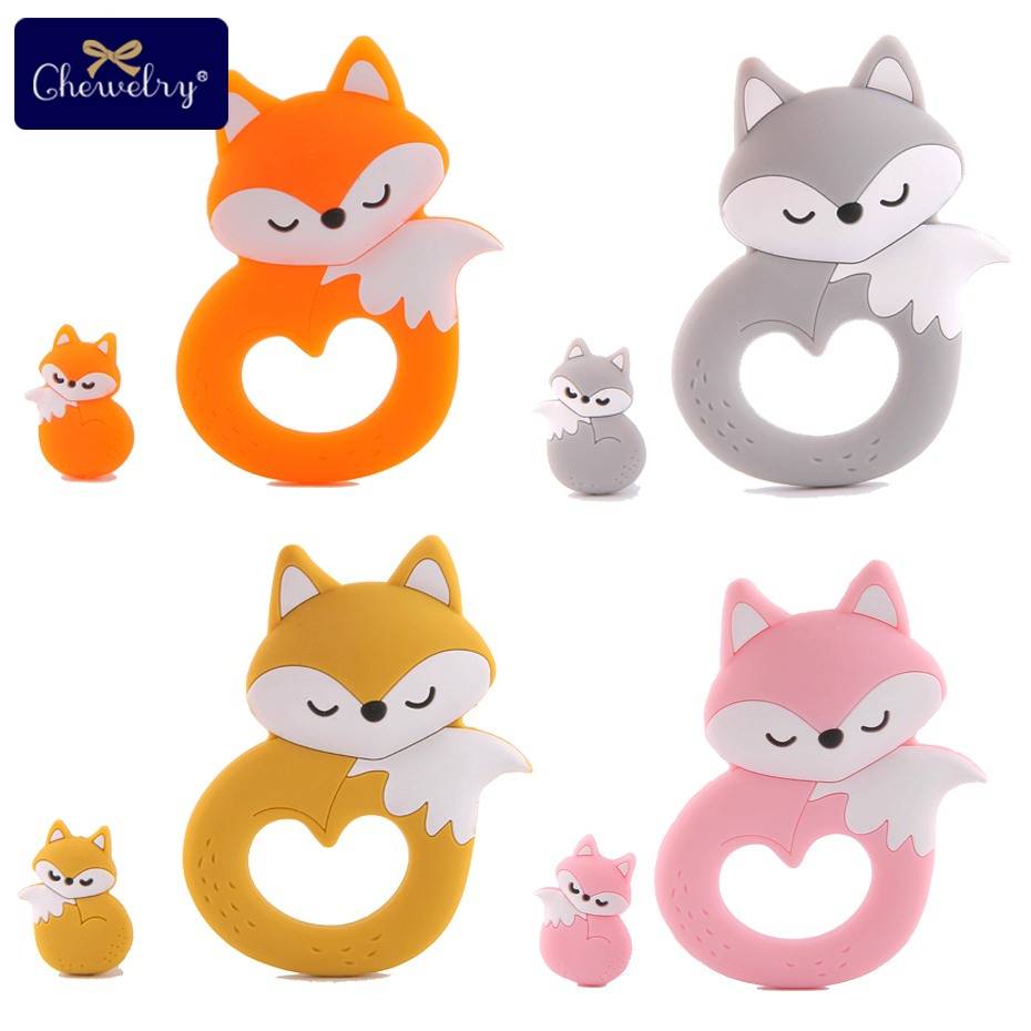 2Pc/Set Silicone Mini Fox Beads Baby Toys Teethers Pacifier Pendant Silicone Fox Teether Tiny Rod Baby Teether For Let'S Make