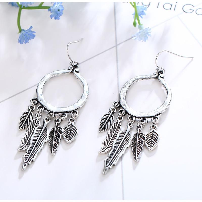 HONGYE Hollow Out Vintage Leaf Feather Drop Earrings For Women Bohemian Dangling Earring Femme Indian Jewelry Brincos in Drop Earrings from Jewelry Accessories