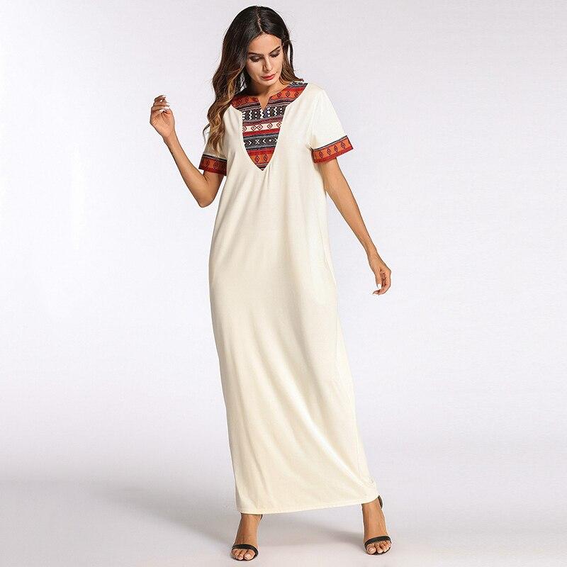 Casual Maxi Dress Print Full Abaya Shirt Sleeve Loose Long Robe Gowns Vestido Muslim Kimono Middle East Dubai Islamic Clothing