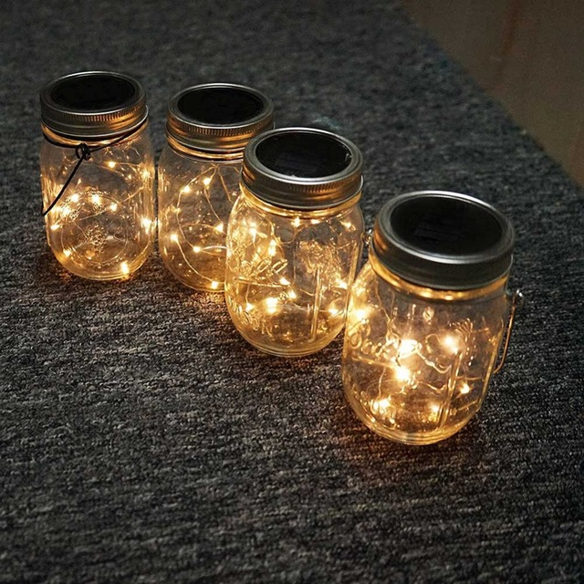 solar string lights.  Lights 3 PCS Solar String Lights LED Light Outdoor Jar Can Cap Copper  Strip Wire And