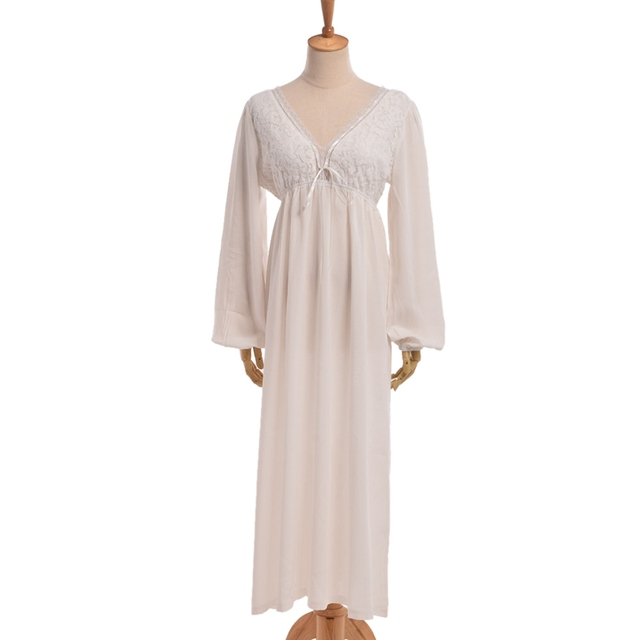 Women Sexy White Lace Nightgown Vintage Style V-Neck Long Sleeve Soft  Nightdress b8c8e2898b8d
