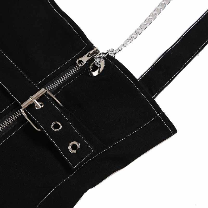 На подтяжках джинсовый облегающий силуэт платье Для женщин летние 2019 в готическом стиле, тренд, в стиле панк, с цепочкой, на молнии уличная черная тонкая школьная Повседневное короткие платья