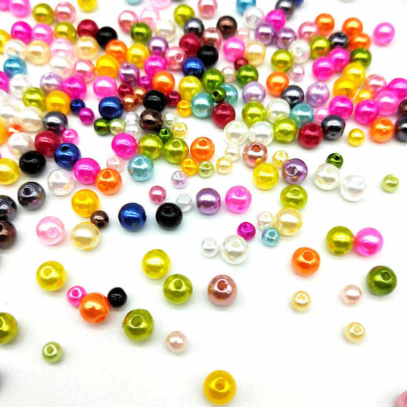 Okrągły 4/6/8/10mm mieszane kolor ABS moda jasne cukierki imitacje pereł gruszki Spacer luźne DIY biżuteria bransoletki naszyjniki Making