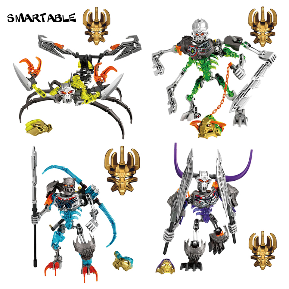 Smartable BIONICLE 4pcs/set Skull Warrior Slicer Basher Scorpio Figures Building Block Toys For Boys Compatible Legoing Bionicle цена