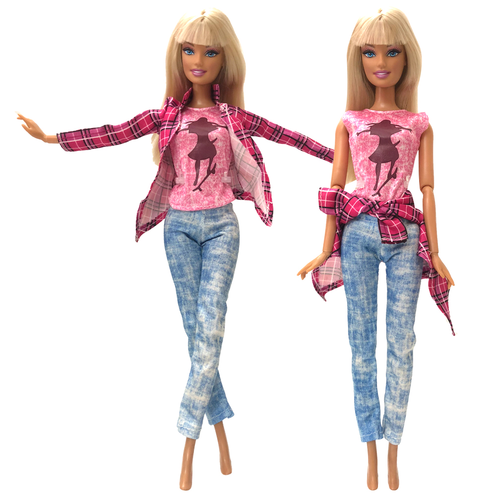 NK One Set Doll Fashion Outfit Long Jeans Trousers Daily Casual Wear Red Coat Pink Hot Shirt For Barbie Doll Accessories Gift nk one set casual wear t shirt trousers summer outfit short pants ken clothes for barbie ken doll accessories wholesale