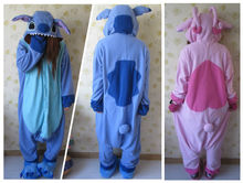 Fashion Cute Animal Cosplay Blue lilo Stitch Pajamas Adult Unisex Women Men Onesies Pyjamas Polar Fleece One Piece Sleepwear