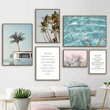 Coconut Tree Palm leafs Bus Sea Landscape Wall Art Canvas Painting Nordic Posters And Prints Wall Pictures For Living Room Decor coconut palm tree beach wall art canvas painting nordic landscape posters and prints wall pictures for living room unframed