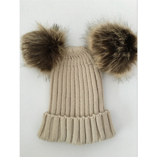 Women's Winter Chunky Knit Double Fur Pom Pom Cute Beanie Hat Crochet Ski Cap