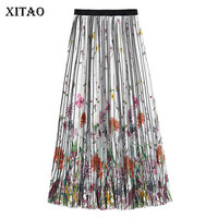 XITAO Print Pattern Pleated Skirt Vintage Wild Joker Summer Ethnic Fashion Colorful Elastic Waist Pleated Folding Skirt WBB4027