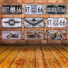 Club Wall Garage USA Vintage Metal pintura señal placa lata Bar signos Ruta 66 coche número matrícula cartel decoración del hogar C10