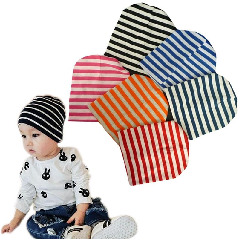 05f5d28b9d9ed Autumn Winter Baby Hats Cap Kids Stripe Printed Knitted Beanie Warm Cotton  Toddler Girl Boy Print
