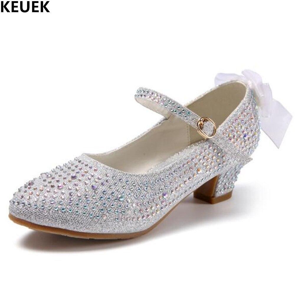 Novos Sapatos De Couro Meninas Princesa Moda Strass Alta-salto alto sapatos de Desempenho Sapatos de Dança Do Partido Dos Miúdos Estudante Bebê 018