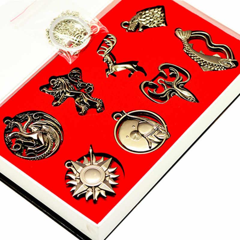 Game of Thrones Cronache Del Ghiaccio E del Fuoco Portachiavi In Metallo Collana di Casa Stark Lupo Pendenti con gemme e perle Targaryen Drago Lannister Lion In Scatola giocattolo
