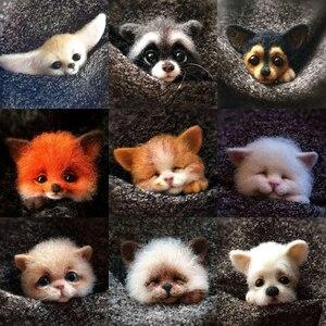New Felt Poke Le DIY Handmade Material Bag Cat Fox Doberman Dog Raccoon Animal Brooch Material Bag()