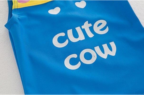 Nyan Cat мальчиков летние милые мультфильм Корова животных купальник + шапка комплект 2 цвета Младенческая малышей Дети Весна Костюмы