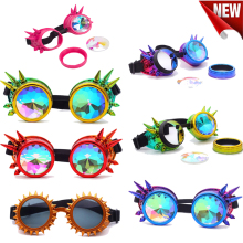 Kaleidoscope Colorful Steampunk Goggles Glasses Cosplay Vintage Rivet Women Retro Party EDM