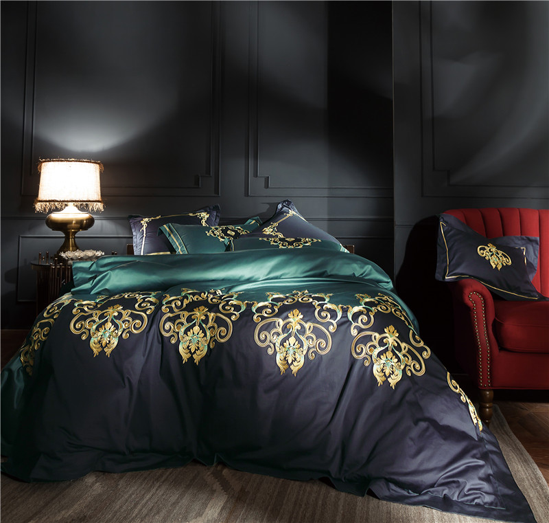 100S Egyptian cotton Luxury Oriental Embroidery Bedding Set Queen King Size 4 6 Pcs Bed sheet