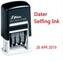 Shiny S300 mini Self-Inking Rubber Mini Date Stamp Chop 3 ink colour black/blue/red 3MM(China)