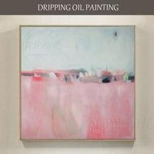 Простой дизайн, ручная роспись, скандинавский розовый пейзаж, масляная живопись на холсте, настенная живопись, абстрактный розовый пейзаж, масляная живопись