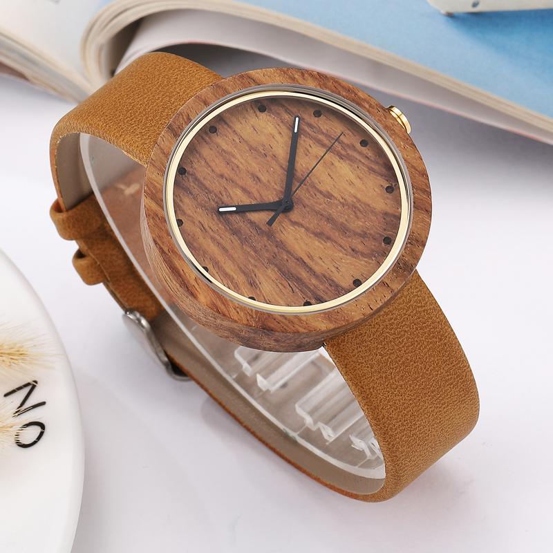 Elegant Women Watch Wood Watch Men Leather Band Simple Style Casual Quartz Wooden Men Wrist Watch Women Gifts relogio masculino simple handmade wooden nature wood bamboo wrist watch men women silicone band rubber strap vertical stripes quartz casual gift