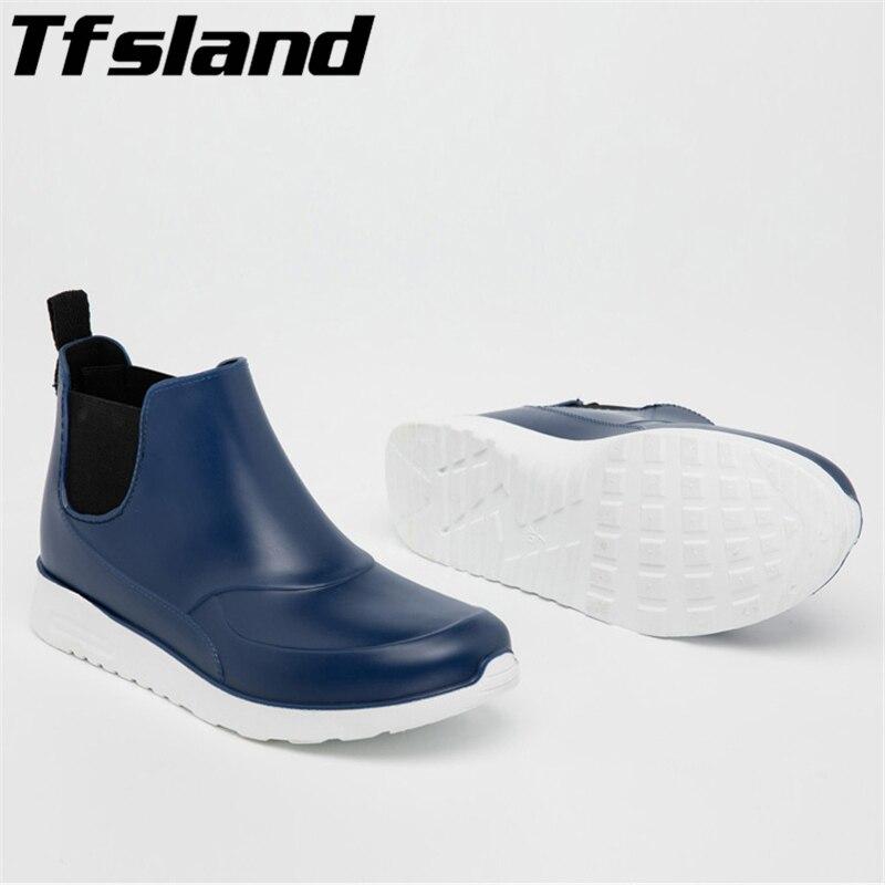 Men Women Short Rain Boots Couple Water Shoes Rubber Waterproof Shoes Non-slip Galoshes Rainboots Outdoor Walking Shoes Sneakers