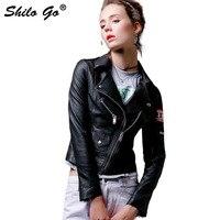 SHILO GO кожаная куртка женская осенняя модная куртка из натуральной овечьей кожи на пуговицах значок в виде буквы рукав тонкий мотоцикл