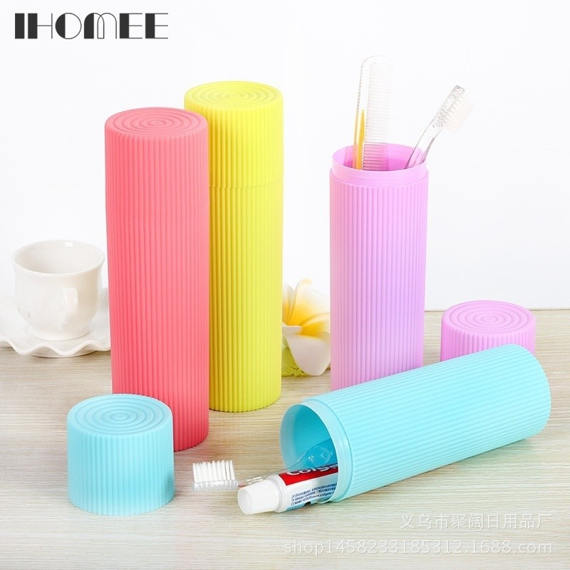 Ihomee Toothbrush Storage Holder Bathroom Accessories Toothpastes Case Holder Camping Portable Cover Travel Hiking Box F19Z15 image