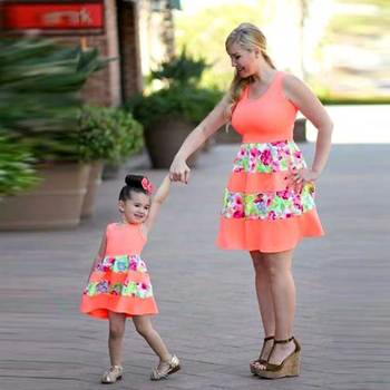 2018 New Fashion Family Set Above Knee Mother Daughter Dress Mom and Daughter Dresses Clothes Family Clothing Summer family look summer casual bodycon dresses